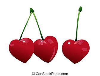 three cherry fruits
