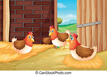 Three chickens nesting - Illustration of three chickens...