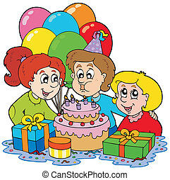 Three children at birthday party - vector illustration.