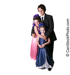 Three Children Dressed to Impress - Siblings Dressed Up in...