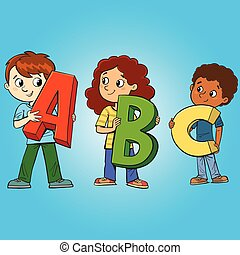 three children hold the letters of the first letters of the alphabet and learn the sounds