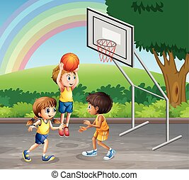 Three children playing basketball at the court