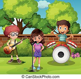 Three children playing music in park