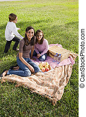 Three children sitting on picnic blanket in park