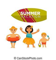 Three children spending happily summer vacations vector...