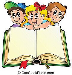 Three children with opened book - vector illustration.