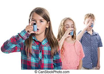 three childs using inhaler for asthma. White background...