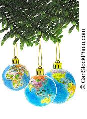 Chirstmas globe ornaments - Three Chirstmas globe ornaments ...