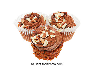 Three chocolate cup cakes
