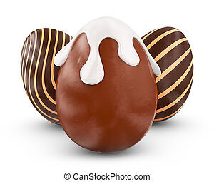 Three chocolate eggs on a white background. 3d rendering.