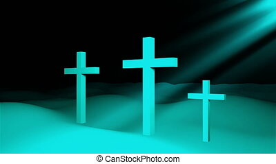 Three christian crosses are on ground and sun rays, resurrection Easter conceptual art, 3d rendering backdrop