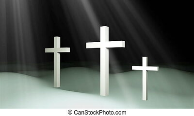 Three christian crosses are on ground and sun rays,...