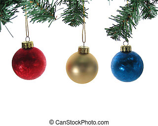 Three christmas ball ornaments with tree branches isolated....