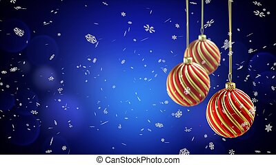Three christmas balls hanging on ribbon on blue snow background.