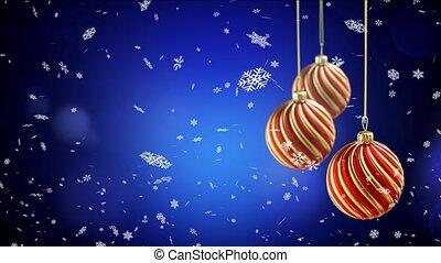 Three christmas balls hanging on ribbon on blue snow background. 4K