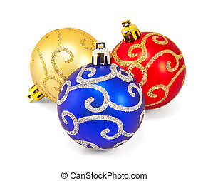 Three christmas balls on a white background