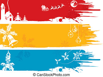 Christmas banner - Three Christmas banner with tree, Santa, ...