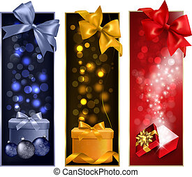 Three christmas banners with gift boxes and snowflakes. Vector illustration.