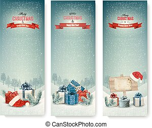 Three Christmas banners with presents. Vector.