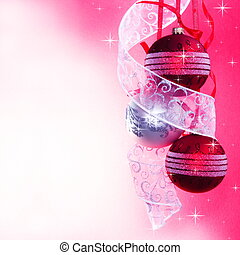 Three Christmas Baubles with Ribbon