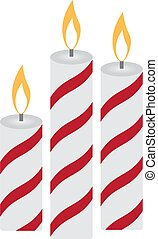 Three Christmas burning candles on a white background. Vector illustration