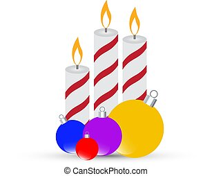 Three Christmas burning candles with balls on a white background. Vector illustration