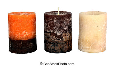 three Christmas candles isolated on white