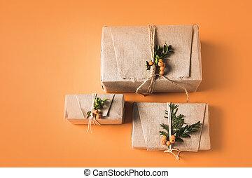 three christmas gift boxes