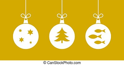 Christmas hanging balls ornaments on golden background