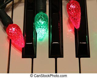 Three Christmas Lights on Piano