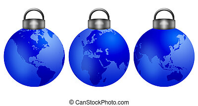 Christmas Tree Ornaments with World Map - Three Christmas ...