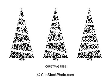 Three christmas trees at greeting card. Vector art with dots different size. Template for laser cut.