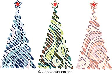 Three Christmas trees