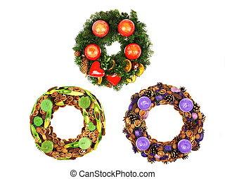 Three Christmas wreaths