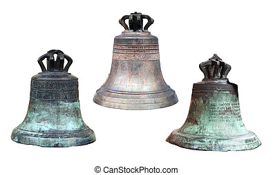 three old and big church bells isolated on white background