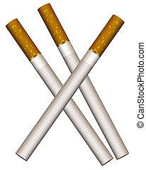 Three cigarettes - Illustration of three cigarettes on a...