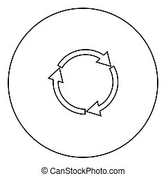 Three circle arrows black icon in circle outline
