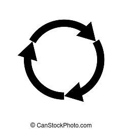 Three circle arrows black icon .