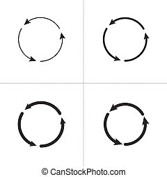 Three circle counter clockwise arrows black icon set . vector illustration isolated on white background