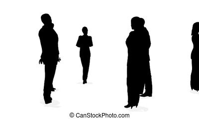 three circles of business people silhouette - Three circles...