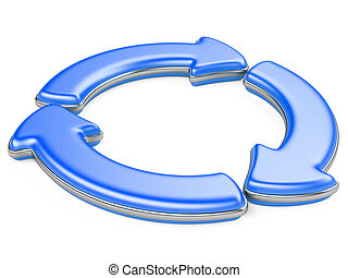 Three circular arrows. Recycle symbol isolated on white. 3D...