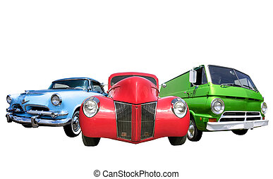 Three classic cars isolated on white background