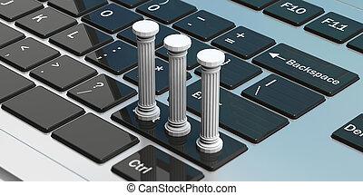 Three classical pillars on a computer keyboard. 3d illustration