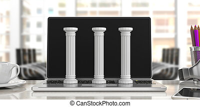 Three classical pillars on a computer, office background. 3d illustration
