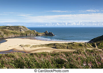 Three Cliffs Bay on the Gower Peninsular in Wales