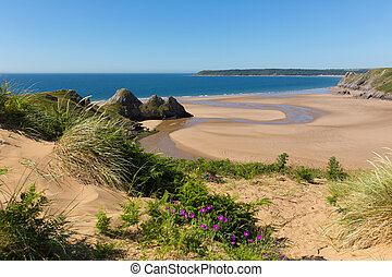 Three Cliffs Bay the Gower Wales uk
