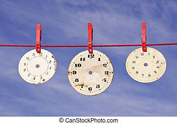 clocks dials on red string
