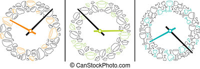 Three clocks showing eating and drinking time - Conceptual...
