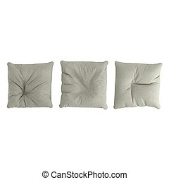 Three cloth pillow pouf on a white background. 3d rendering
