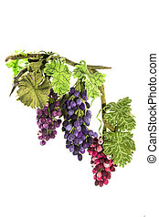 Three clusters of handmade grapes from felted wool on a white background